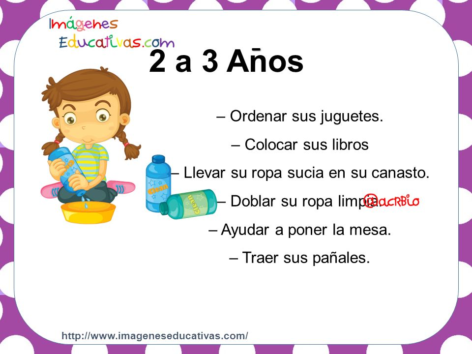 2 a 3 Años 4 a 5 Anos - – Alimentar mascotas.– Ordenar sus juguetes.