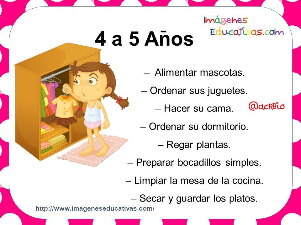 2 a 3 Años 4 a 5 Anos - – Alimentar mascotas. – Ordenar sus juguetes.