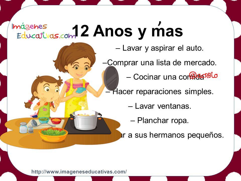 2 a 3 Años 12 Anos y mas, – Lavar y aspirar el auto.