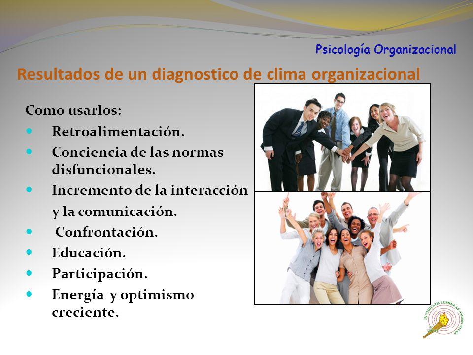 Resultados de un diagnostico de clima organizacional Como usarlos: Retroalimentación.