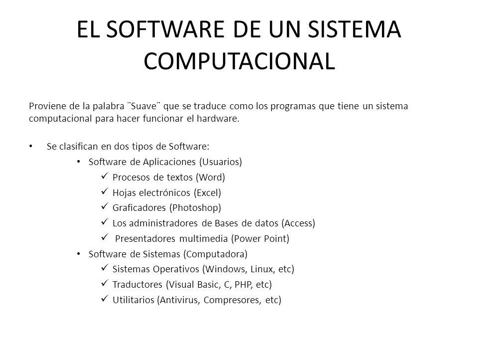 EL SOFTWARE DE UN SISTEMA COMPUTACIONAL Proviene de la palabra ¨Suave¨ que se traduce como los programas que tiene un sistema computacional para hacer funcionar el hardware.