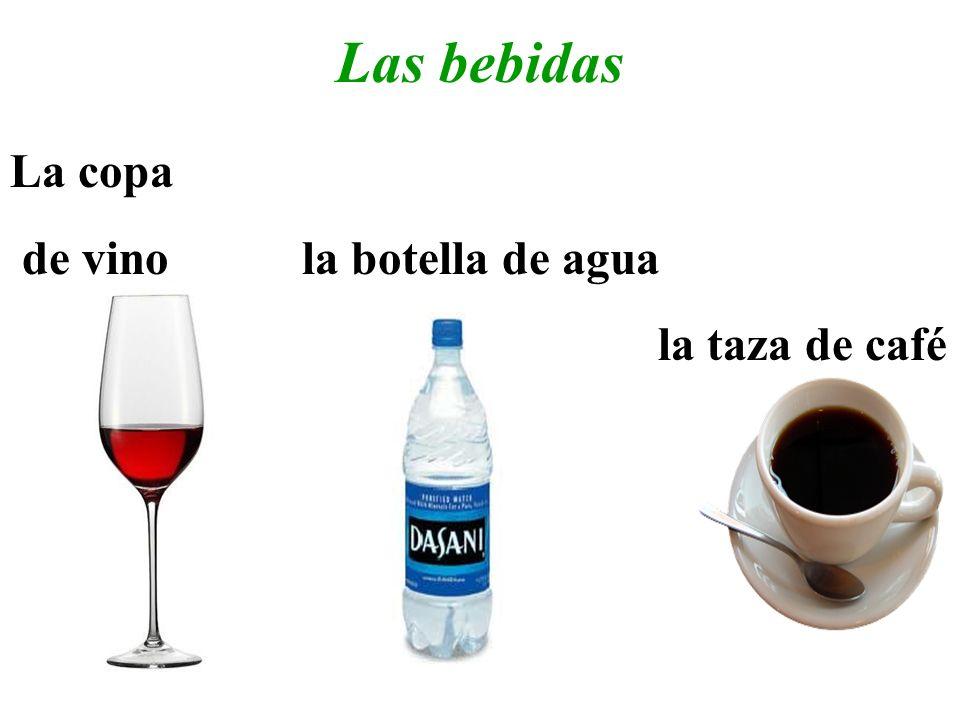 Las bebidas La copa de vino la botella de agua la taza de café