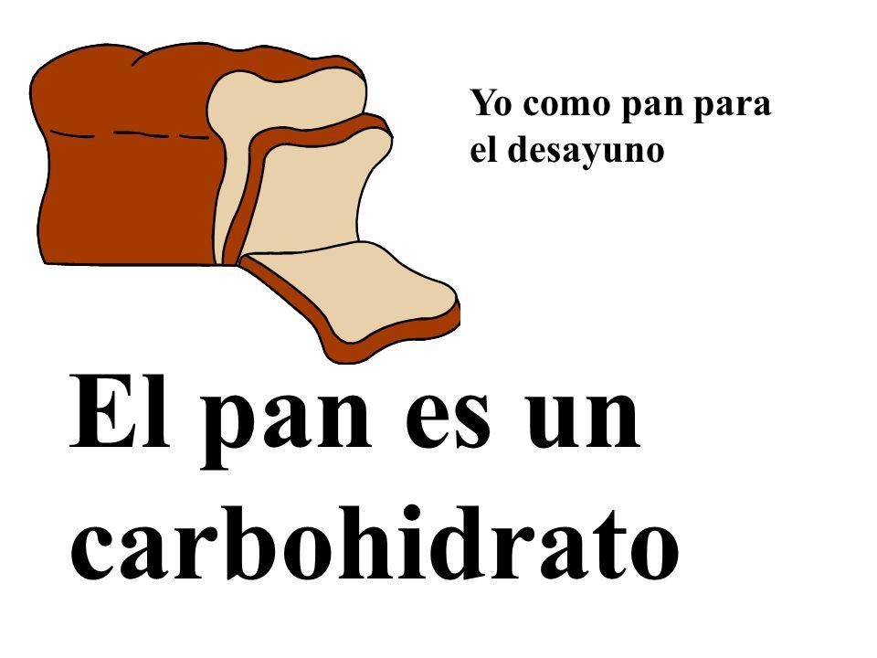 El pan es un carbohidrato Yo como pan para el desayuno