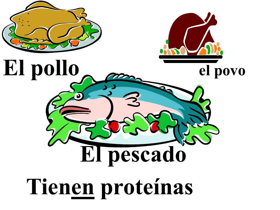 El pollo el povo El pescado Tienen proteínas
