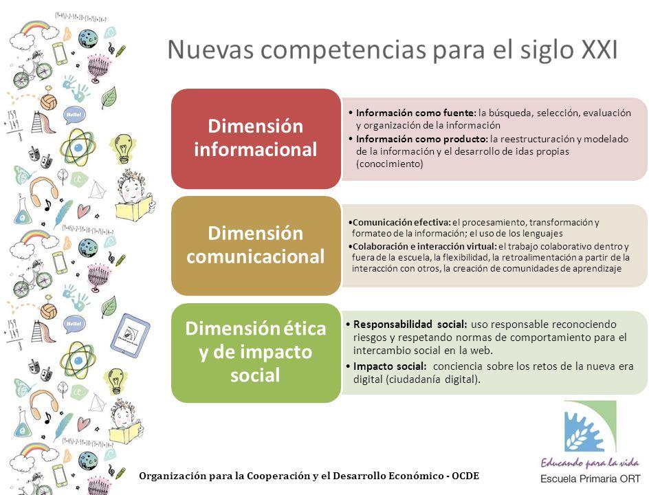 Organización para la Cooperación y el Desarrollo Económico - OCDE Información como fuente: la búsqueda, selección, evaluación y organización de la información Información como producto: la reestructuración y modelado de la información y el desarrollo de idas propias (conocimiento) Dimensión informacional Comunicación efectiva: el procesamiento, transformación y formateo de la información; el uso de los lenguajes Colaboración e interacción virtual: el trabajo colaborativo dentro y fuera de la escuela, la flexibilidad, la retroalimentación a partir de la interacción con otros, la creación de comunidades de aprendizaje Dimensión comunicacional Responsabilidad social: uso responsable reconociendo riesgos y respetando normas de comportamiento para el intercambio social en la web.