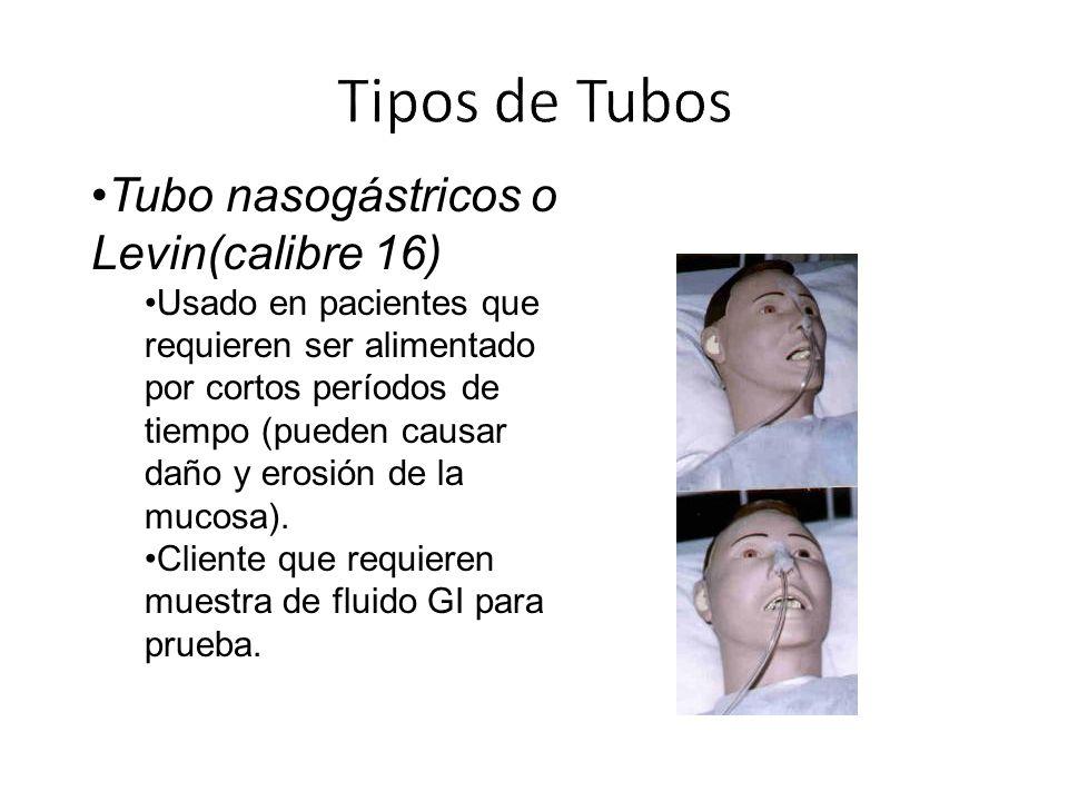 Tubo nasogástricos o Levin(calibre 16) Usado en pacientes que requieren ser alimentado por cortos períodos de tiempo (pueden causar daño y erosión de la mucosa).