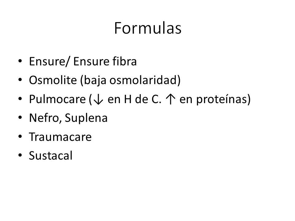 Ensure/ Ensure fibra Osmolite (baja osmolaridad) Pulmocare (↓ en H de C.