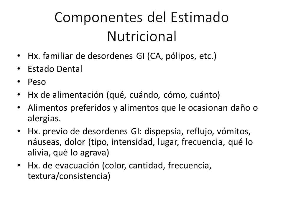 Hx. familiar de desordenes GI (CA, pólipos, etc.) Estado Dental Peso Hx de alimentación (qué, cuándo, cómo, cuánto) Alimentos preferidos y alimentos q