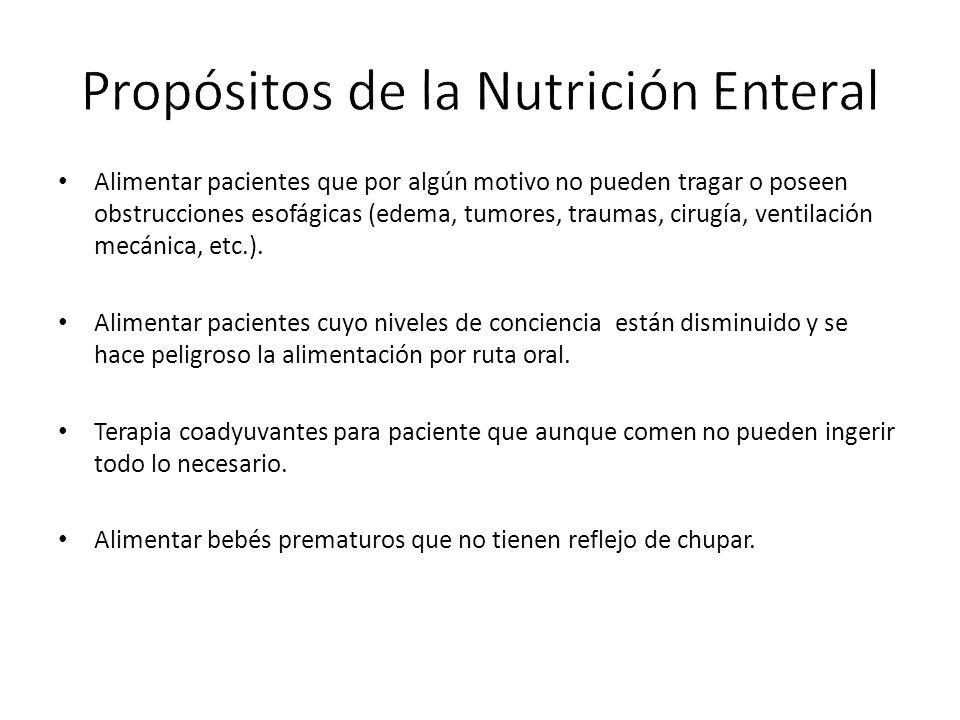 Alimentar pacientes que por algún motivo no pueden tragar o poseen obstrucciones esofágicas (edema, tumores, traumas, cirugía, ventilación mecánica, etc.).