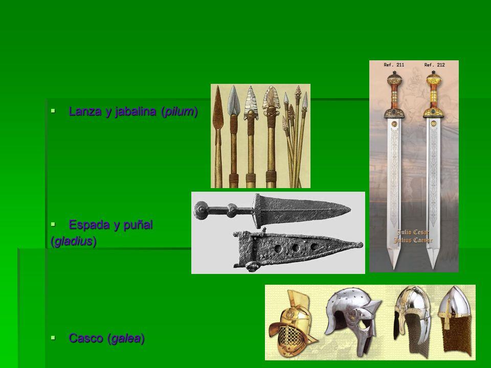  Lanza y jabalina (pilum)  Espada y puñal (gladius)  Casco (galea)
