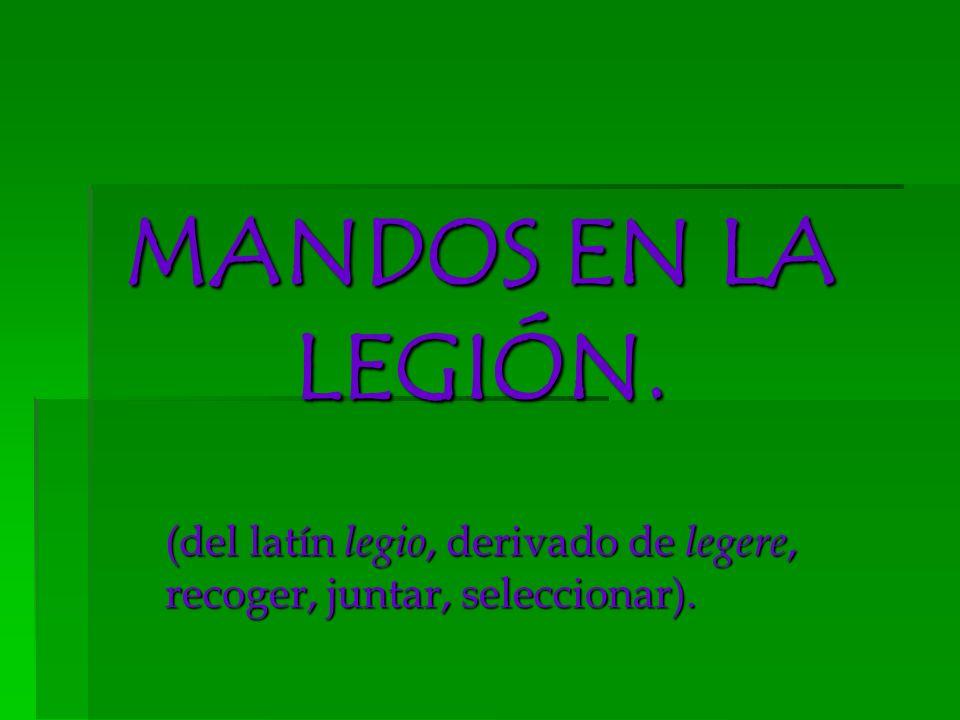 MANDOS EN LA LEGIÓN. (del latín legio, derivado de legere, recoger, juntar, seleccionar).