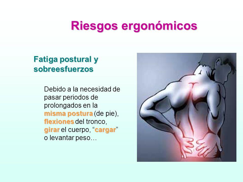 Riesgos ergonómicos Fatiga postural y sobreesfuerzos misma postura flexiones girarcargar Debido a la necesidad de pasar periodos de prolongados en la misma postura (de pie), flexiones del tronco, girar el cuerpo, cargar o levantar peso…