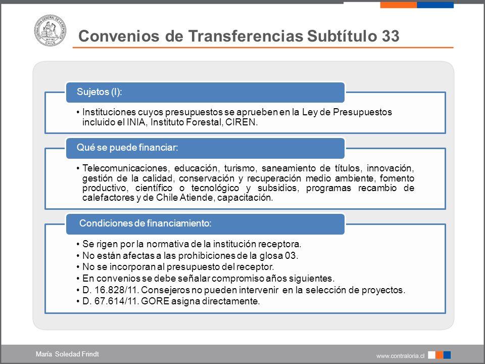 Convenios de Transferencias Subtítulo 33 1.Financiar gastos en personal y en bienes y servicios de consumo de los servicios públicos.