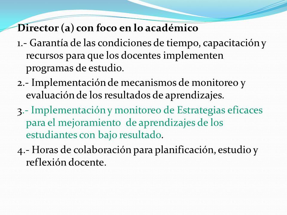 Director (a) con foco en lo académico 1.- Garantía de las condiciones de tiempo, capacitación y recursos para que los docentes implementen programas d