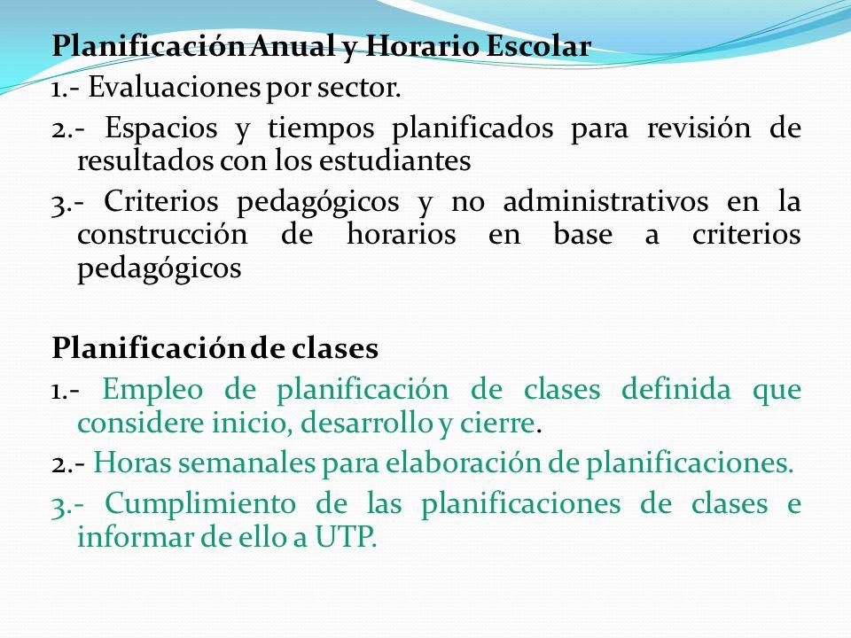 Planificación Anual y Horario Escolar 1.- Evaluaciones por sector. 2.- Espacios y tiempos planificados para revisión de resultados con los estudiantes