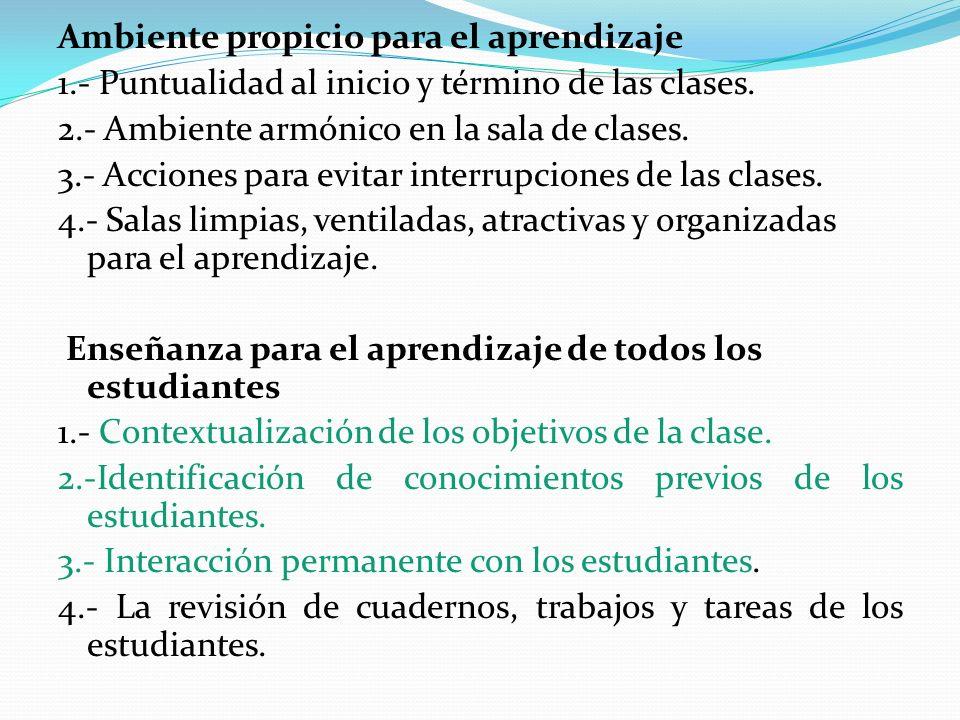 Ambiente propicio para el aprendizaje 1.- Puntualidad al inicio y término de las clases. 2.- Ambiente armónico en la sala de clases. 3.- Acciones para