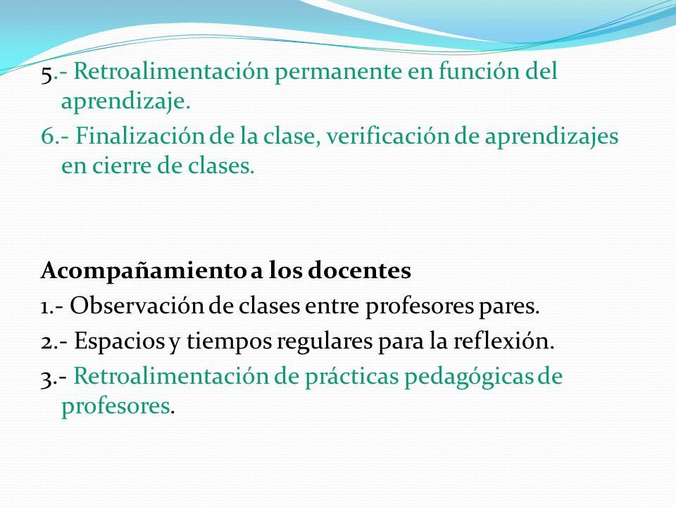 5.- Retroalimentación permanente en función del aprendizaje. 6.- Finalización de la clase, verificación de aprendizajes en cierre de clases. Acompañam