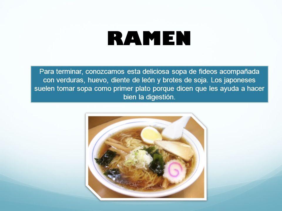 Para terminar, conozcamos esta deliciosa sopa de fideos acompañada con verduras, huevo, diente de león y brotes de soja.