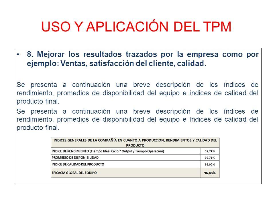 USO Y APLICACIÓN DEL TPM 8. Mejorar los resultados trazados por la empresa como por ejemplo: Ventas, satisfacción del cliente, calidad. Se presenta a