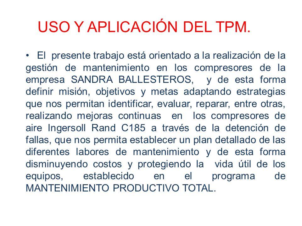 USO Y APLICACIÓN DEL TPM. El presente trabajo está orientado a la realización de la gestión de mantenimiento en los compresores de la empresa SANDRA B