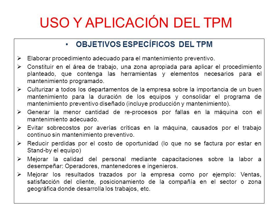 USO Y APLICACIÓN DEL TPM OBJETIVOS ESPECÍFICOS DEL TPM  Elaborar procedimiento adecuado para el mantenimiento preventivo.  Constituir en el área de