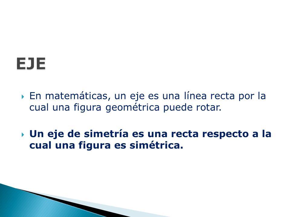  En matemáticas, un eje es una línea recta por la cual una figura geométrica puede rotar.