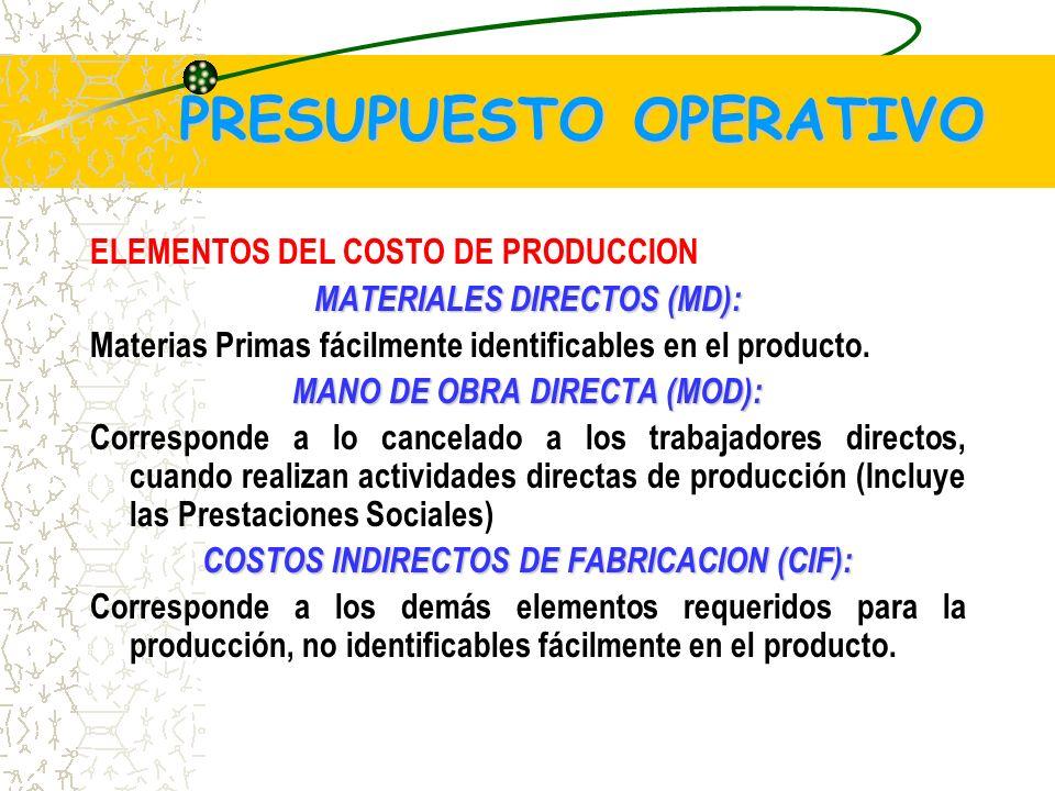 PRESUPUESTO OPERATIVO ELEMENTOS DEL COSTO DE PRODUCCION MATERIALES DIRECTOS (MD): Materias Primas fácilmente identificables en el producto.