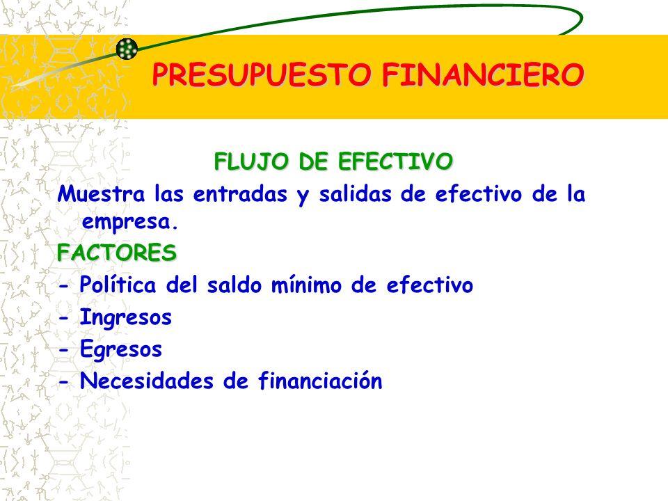 PRESUPUESTO FINANCIERO FLUJO DE EFECTIVO Muestra las entradas y salidas de efectivo de la empresa.FACTORES - Política del saldo mínimo de efectivo - Ingresos - Egresos - Necesidades de financiación