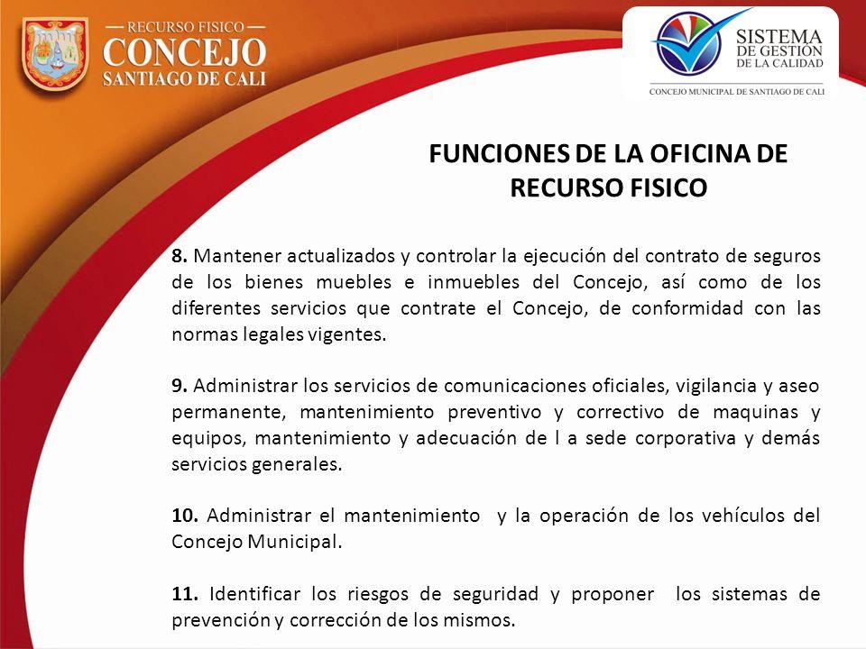 8. Mantener actualizados y controlar la ejecución del contrato de seguros de los bienes muebles e inmuebles del Concejo, así como de los diferentes se