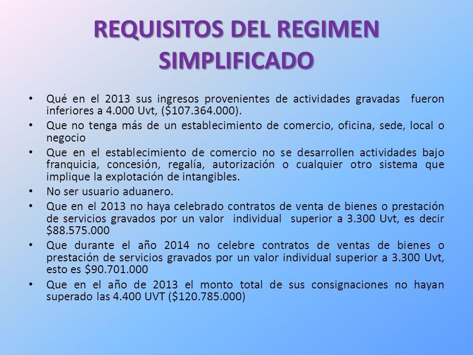 REQUISITOS DEL REGIMEN SIMPLIFICADO Qué en el 2013 sus ingresos provenientes de actividades gravadas fueron inferiores a 4.000 Uvt, ($107.364.000).