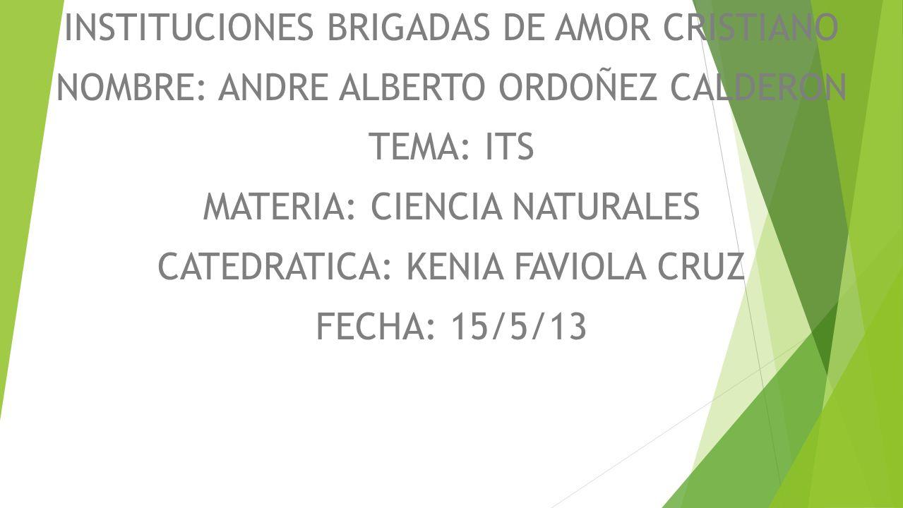 INSTITUCIONES BRIGADAS DE AMOR CRISTIANO NOMBRE: ANDRE ALBERTO ORDOÑEZ CALDERON TEMA: ITS MATERIA: CIENCIA NATURALES CATEDRATICA: KENIA FAVIOLA CRUZ FECHA: 15/5/13