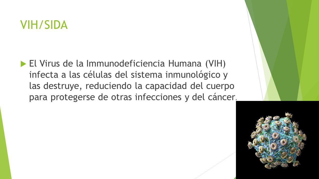 VIH/SIDA  El Virus de la Immunodeficiencia Humana (VIH) infecta a las células del sistema inmunológico y las destruye, reduciendo la capacidad del cuerpo para protegerse de otras infecciones y del cáncer.