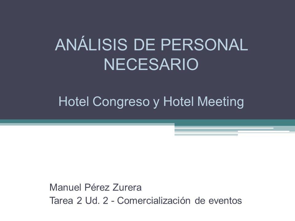 ANÁLISIS DE PERSONAL NECESARIO Hotel Congreso y Hotel Meeting Manuel Pérez Zurera Tarea 2 Ud.