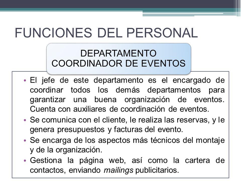 FUNCIONES DEL PERSONAL El jefe de este departamento es el encargado de coordinar todos los demás departamentos para garantizar una buena organización de eventos.