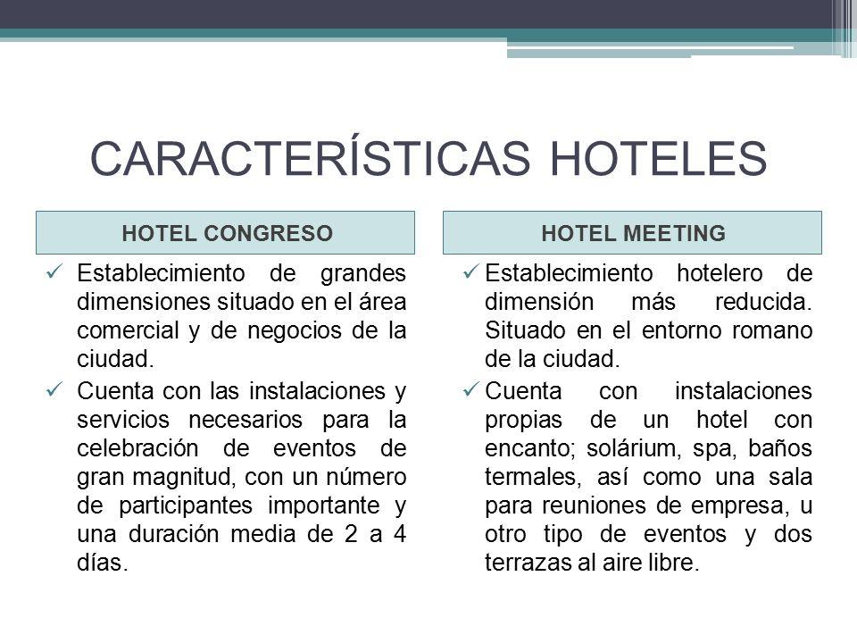 CARACTERÍSTICAS HOTELES HOTEL CONGRESOHOTEL MEETING Establecimiento de grandes dimensiones situado en el área comercial y de negocios de la ciudad.