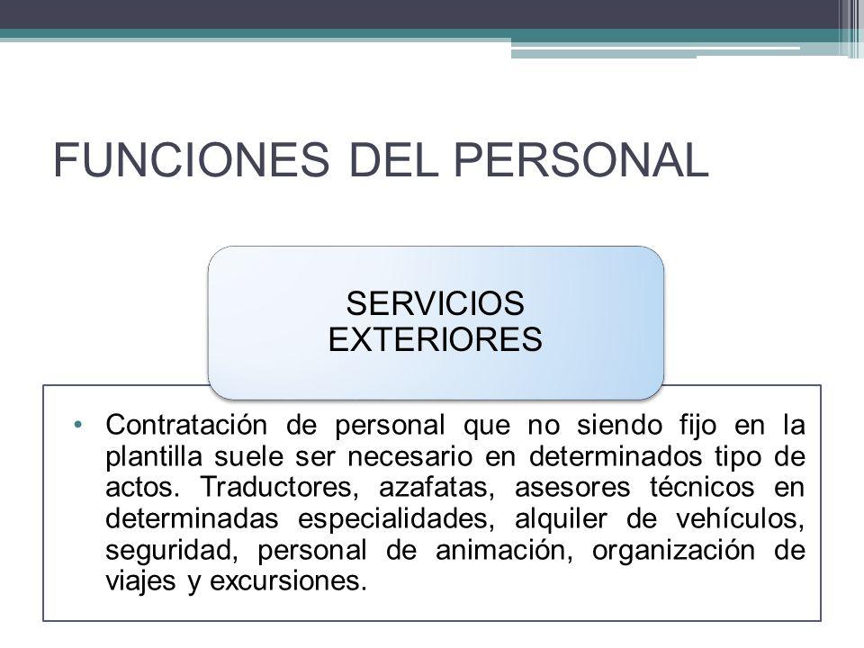 FUNCIONES DEL PERSONAL Contratación de personal que no siendo fijo en la plantilla suele ser necesario en determinados tipo de actos.