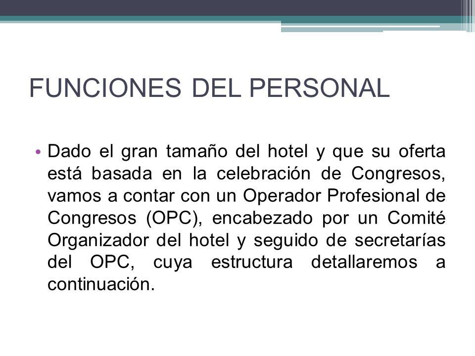 FUNCIONES DEL PERSONAL Dado el gran tamaño del hotel y que su oferta está basada en la celebración de Congresos, vamos a contar con un Operador Profesional de Congresos (OPC), encabezado por un Comité Organizador del hotel y seguido de secretarías del OPC, cuya estructura detallaremos a continuación.