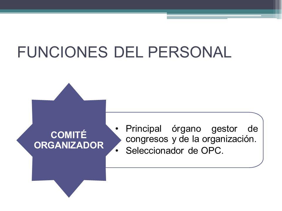FUNCIONES DEL PERSONAL Principal órgano gestor de congresos y de la organización.