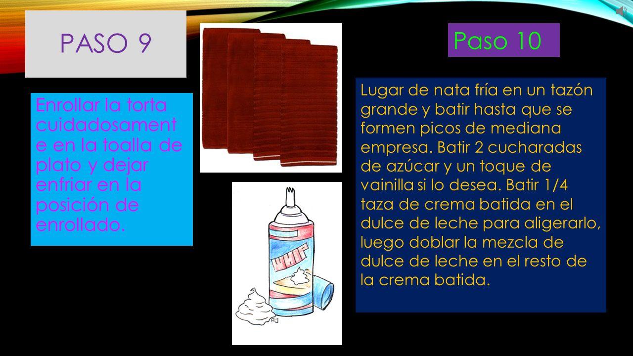 PASO 11 Desenrolle el bizcocho y propagación batida crema/dulce de leche mezcla sobre el pastel.