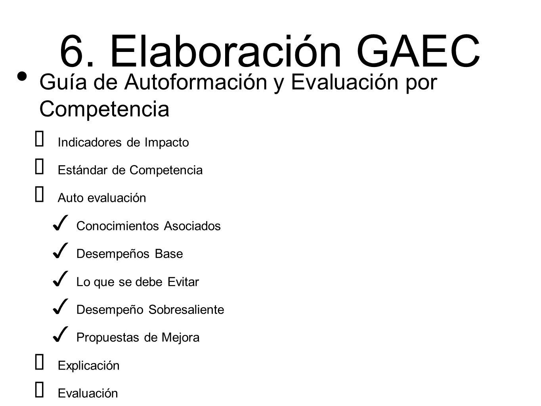 6. Elaboración GAEC Guía de Autoformación y Evaluación por Competencia ➡ Indicadores de Impacto ➡ Estándar de Competencia ➡ Auto evaluación ✓ Conocimi