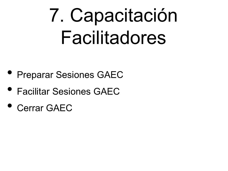 7. Capacitación Facilitadores Preparar Sesiones GAEC Facilitar Sesiones GAEC Cerrar GAEC