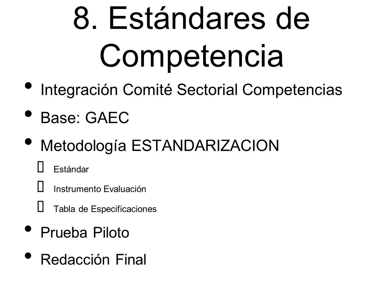8. Estándares de Competencia Integración Comité Sectorial Competencias Base: GAEC Metodología ESTANDARIZACION ➡ Estándar ➡ Instrumento Evaluación ➡ Ta