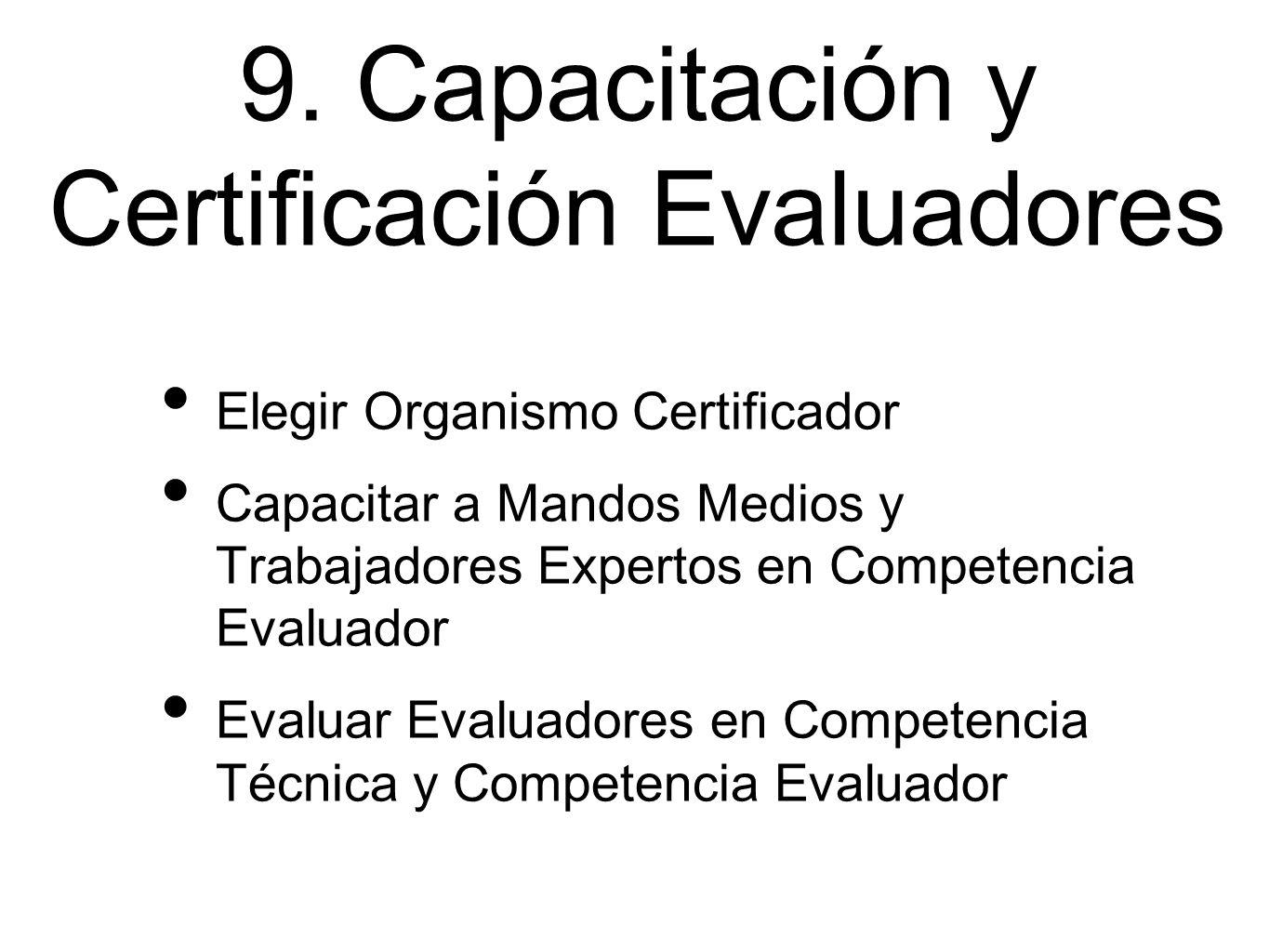 9. Capacitación y Certificación Evaluadores Elegir Organismo Certificador Capacitar a Mandos Medios y Trabajadores Expertos en Competencia Evaluador E