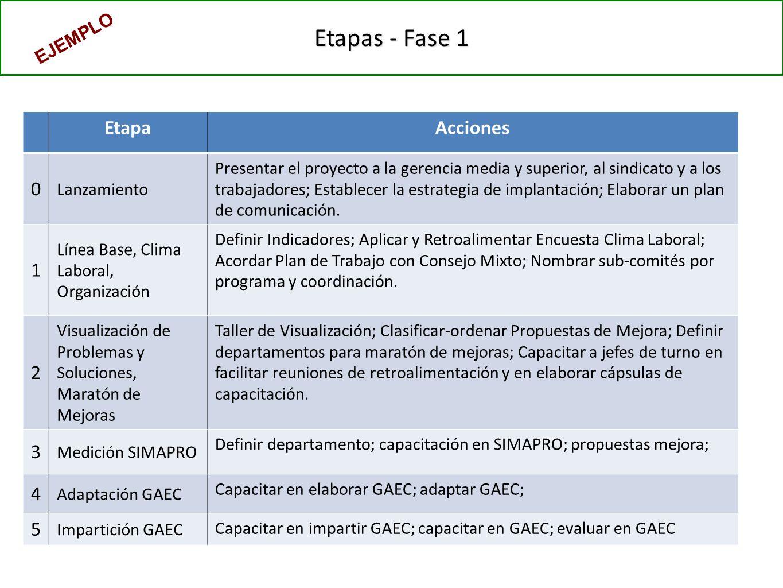 Etapas - Fase 1 EtapaAcciones 0 Lanzamiento Presentar el proyecto a la gerencia media y superior, al sindicato y a los trabajadores; Establecer la estrategia de implantación; Elaborar un plan de comunicación.