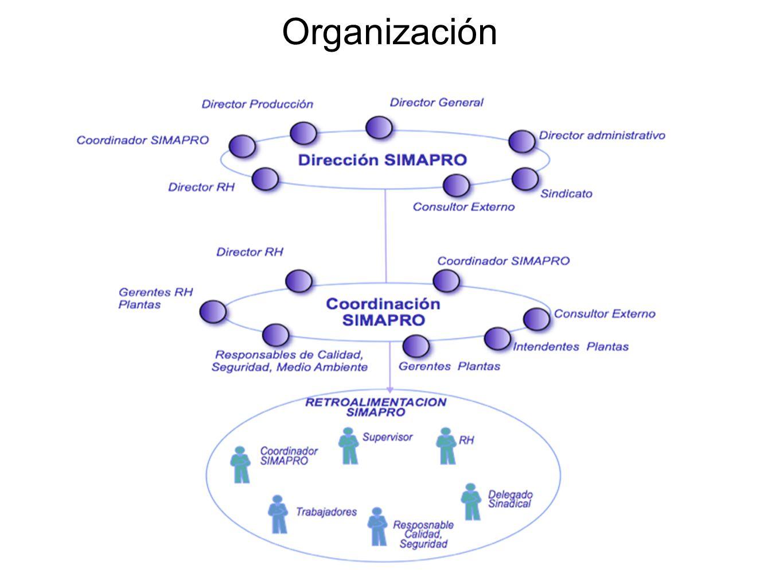 Ejemplo: Estructura Organizativa SIMAPRO Nivel 1 Nivel 2 Nivel 3 Consejo Directivo Mixto Mandos Medios Operativo: Turnos Mini SIMAPRO Diario (10 min) Macro SIMAPRO Quincenal (30 min) Macro SIMAPRO Mensual (60 min) Macro SIMAPRO Mensual (60 min) Coordinación