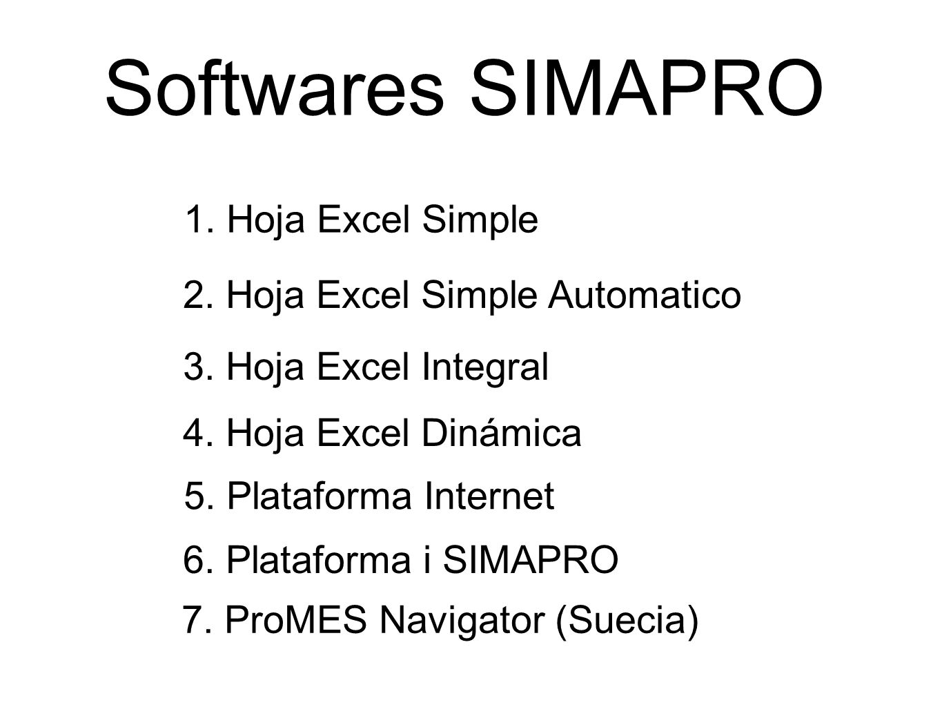 Softwares SIMAPRO 1. Hoja Excel Simple 2. Hoja Excel Simple Automatico 3.