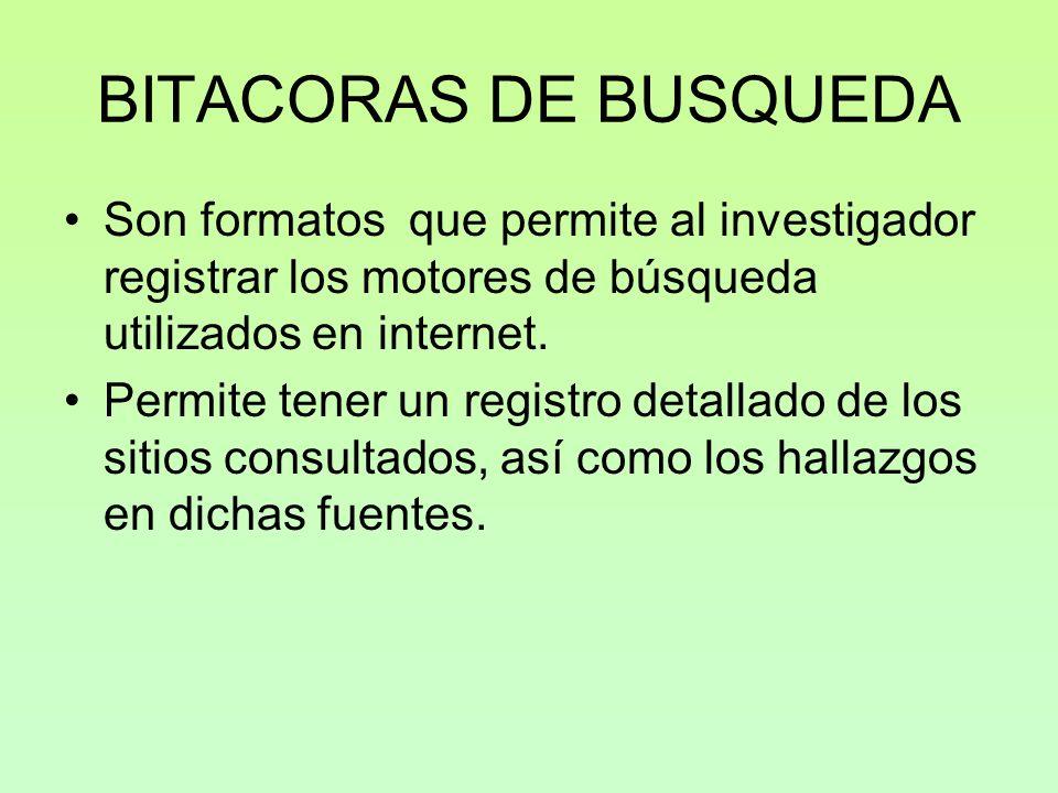 BITACORAS DE BUSQUEDA Son formatos que permite al investigador registrar los motores de búsqueda utilizados en internet.
