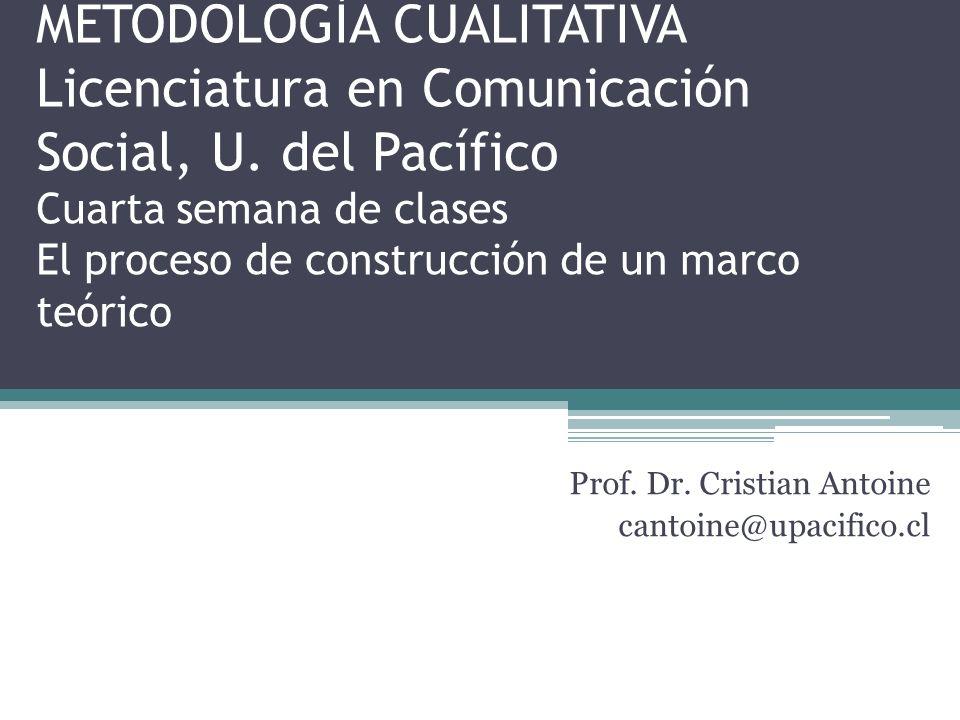 METODOLOGÍA CUALITATIVA Licenciatura en Comunicación Social, U.