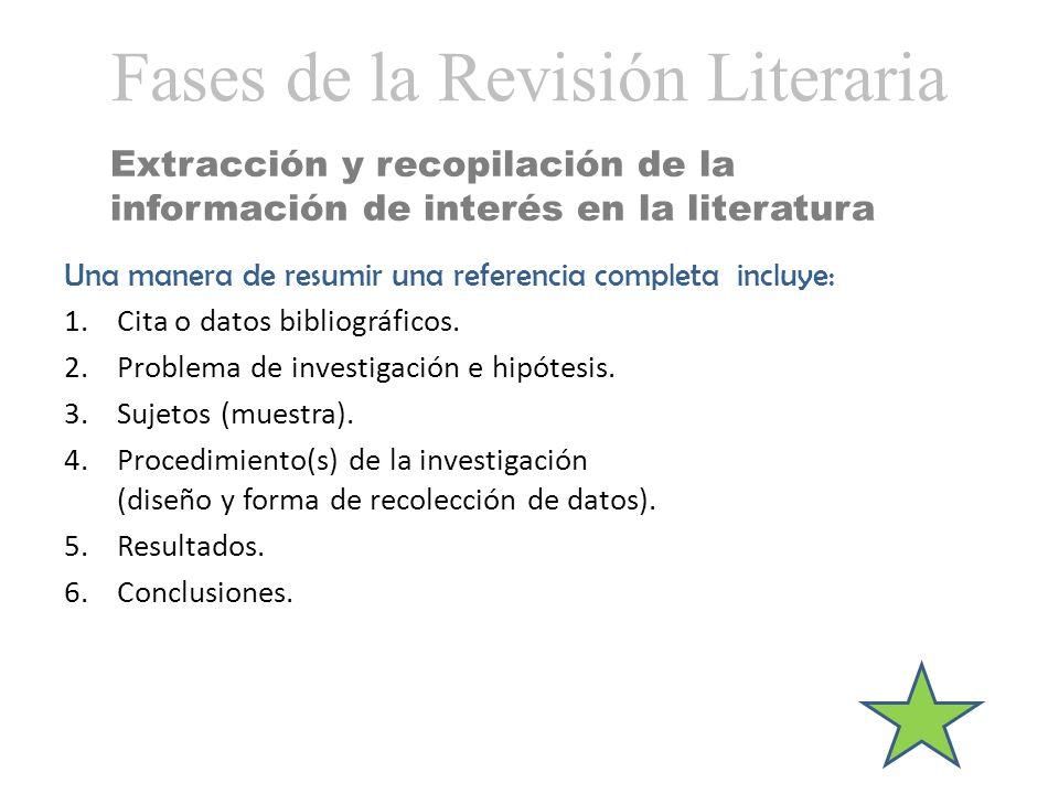 Extracción y recopilación de la información de interés en la literatura Una manera de resumir una referencia completa incluye: 1.Cita o datos bibliográficos.