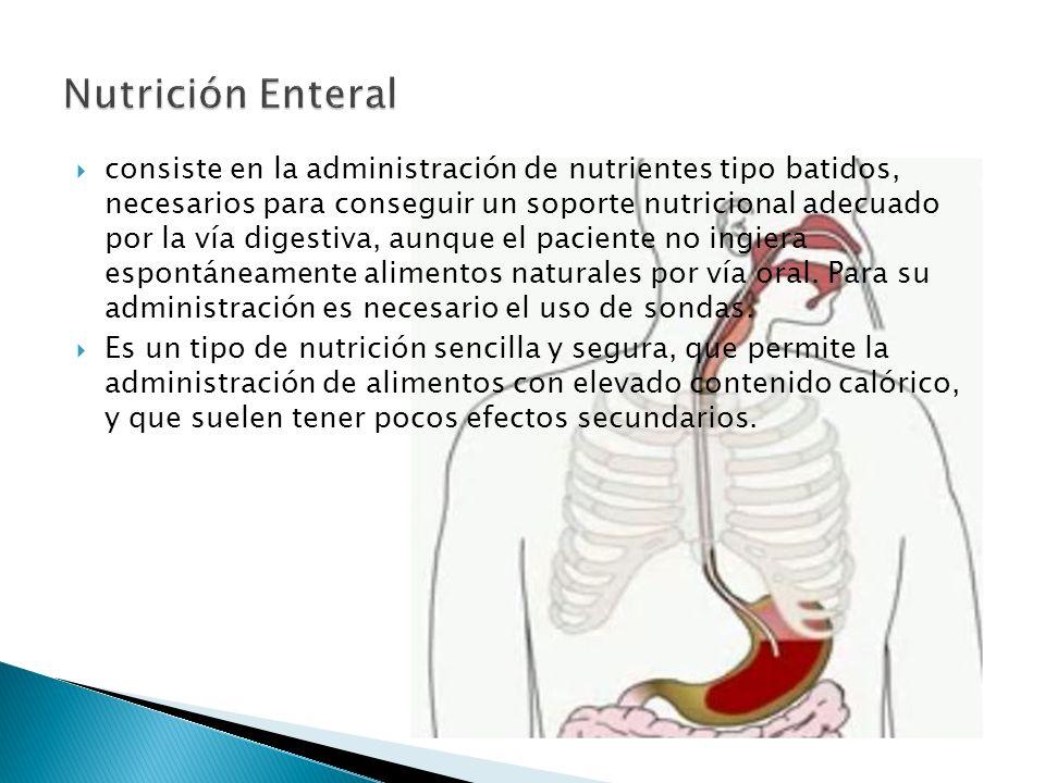  consiste en la administración de nutrientes tipo batidos, necesarios para conseguir un soporte nutricional adecuado por la vía digestiva, aunque el paciente no ingiera espontáneamente alimentos naturales por vía oral.